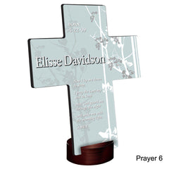 Personalized Faith and Flowers Cross with Stand - Prayer6 - Crosses - AGiftPersonalized