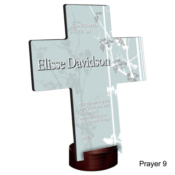 Personalized Faith and Flowers Cross with Stand - Prayer9 - JDS