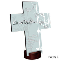 Personalized Faith and Flowers Cross with Stand - Prayer9 - Crosses - AGiftPersonalized