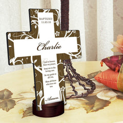 Personalized Tree of Life Cross with Stand