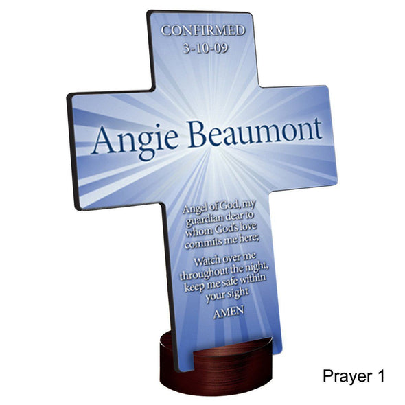 Personalized Starburst Cross with Stand - Prayer1 - JDS