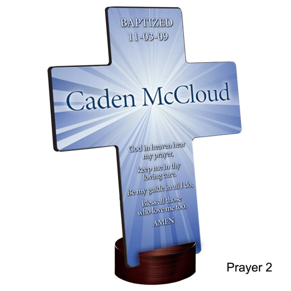 Personalized Starburst Cross with Stand - Prayer2 - JDS