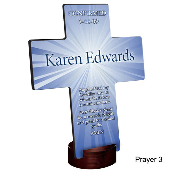 Personalized Starburst Cross with Stand - Prayer3 - JDS
