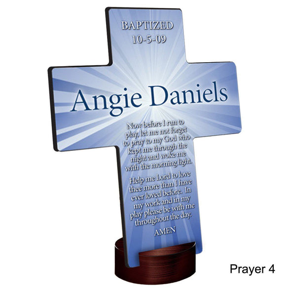 Personalized Starburst Cross with Stand - Prayer4 - JDS