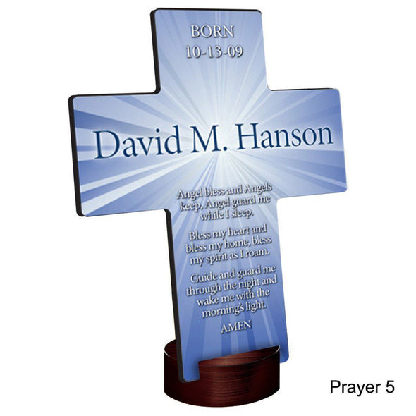 Personalized Starburst Cross with Stand - Prayer5 - JDS