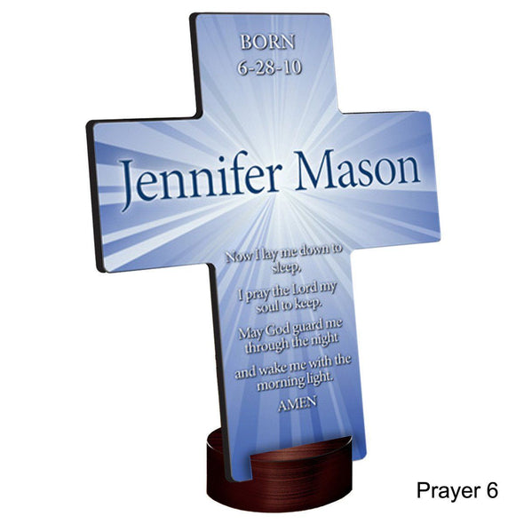 Personalized Starburst Cross with Stand - Prayer6 - JDS