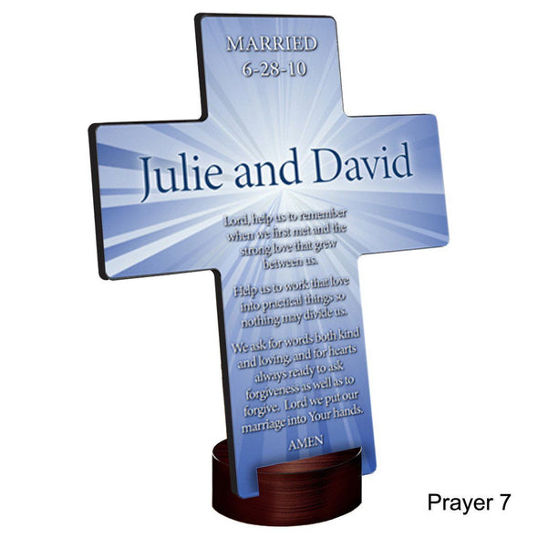 Personalized Starburst Cross with Stand - Prayer7 - JDS