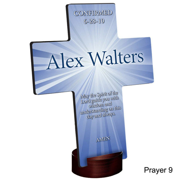 Personalized Starburst Cross with Stand - Prayer9 - JDS