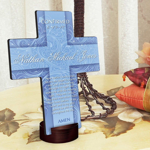 Personalized Twinkling Star Cross with Stand -  - Crosses - AGiftPersonalized
