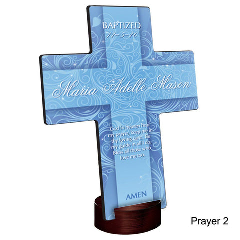 Personalized Twinkling Star Cross with Stand - Prayer2 - Crosses - AGiftPersonalized