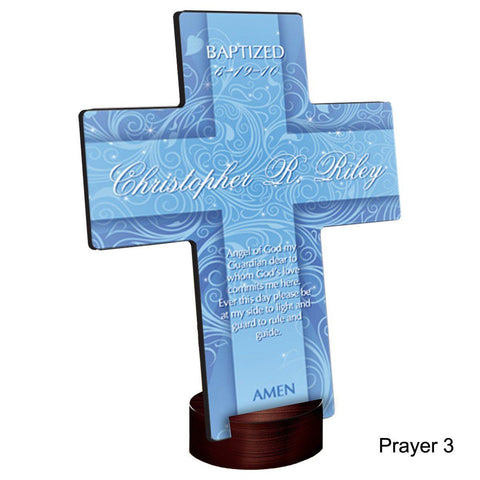 Personalized Twinkling Star Cross with Stand - Prayer3 - Crosses - AGiftPersonalized