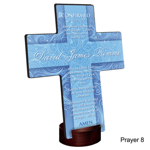 Personalized Twinkling Star Cross with Stand - Prayer8