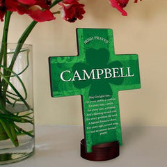 Personalized Irish Blessing Shamrock Cross with Stand