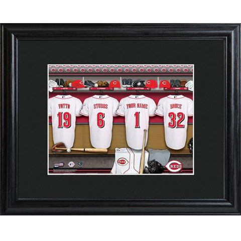 Personalized MLB Clubhouse Sign w/Matted Frame - Reds -