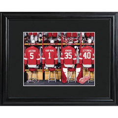 Personalized NHL Locker Room Sign w/Matted Frame - Red Wings