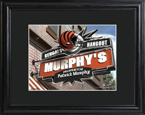 Personalized NFL Pub Sign w/Matted Frame - Bengals -  - Professional Sports Gifts - AGiftPersonalized