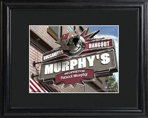 Personalized NFL Pub Sign w/Matted Frame - Buccaneers -  - Professional Sports Gifts - AGiftPersonalized
