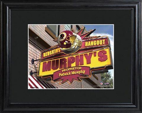 Personalized NFL Pub Sign w/Matted Frame - Redskins -  - Professional Sports Gifts - AGiftPersonalized
