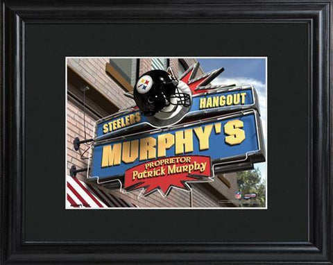 Personalized NFL Pub Sign w/Matted Frame - Steelers -  - Professional Sports Gifts - AGiftPersonalized