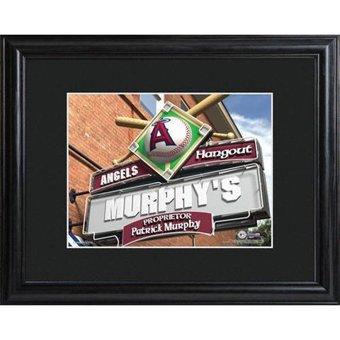 Personalized MLB Pub Sign w/Matted Frame - Angels -  - Professional Sports Gifts - AGiftPersonalized