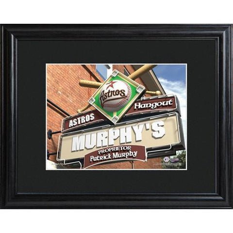 Personalized MLB Pub Sign w/Matted Frame - Astros -  - Professional Sports Gifts - AGiftPersonalized