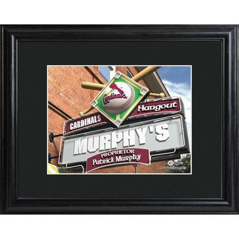Personalized MLB Pub Sign w/Matted Frame - Cardinals -  - Professional Sports Gifts - AGiftPersonalized