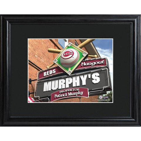 Personalized MLB Pub Sign w/Matted Frame - Reds -  - Professional Sports Gifts - AGiftPersonalized