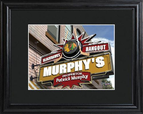 Personalized NHL Pub Sign w/Matted Frame - Blackhawks -  - Professional Sports Gifts - AGiftPersonalized