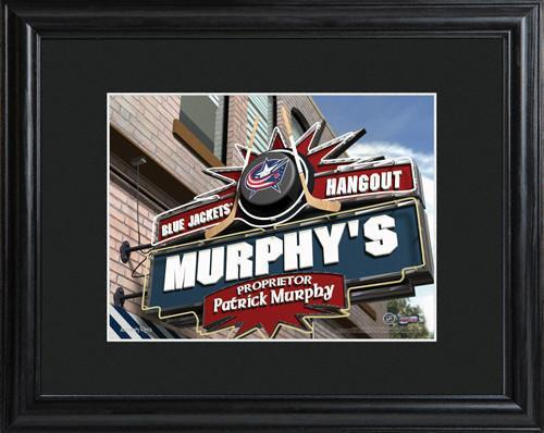 Personalized-NHL-Pub-Sign-wMatted-Frame-Blue-Jackets