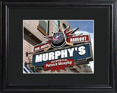 Personalized NHL Pub Sign w/Matted Frame - Blue Jackets
