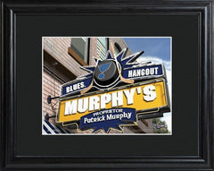 Personalized NHL Pub Sign w/Matted Frame - Blues