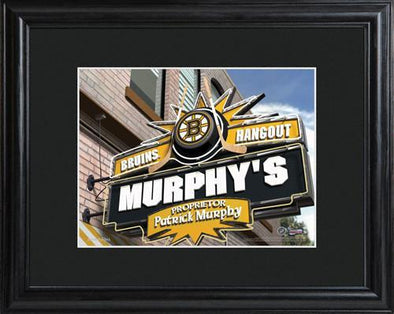 Personalized NHL Pub Sign w/Matted Frame - Bruins -  - JDS