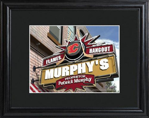 Personalized NHL Pub Sign w/Matted Frame - Flames -  - Professional Sports Gifts - AGiftPersonalized