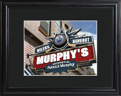 Personalized NHL Pub Sign w/Matted Frame - Oilers -  - JDS