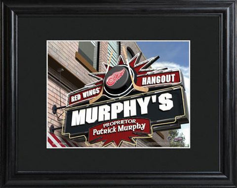 Personalized NHL Pub Sign w/Matted Frame - Red Wings -  - Professional Sports Gifts - AGiftPersonalized