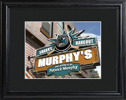 Personalized NHL Pub Sign w/Matted Frame - Sharks -  - Professional Sports Gifts - AGiftPersonalized
