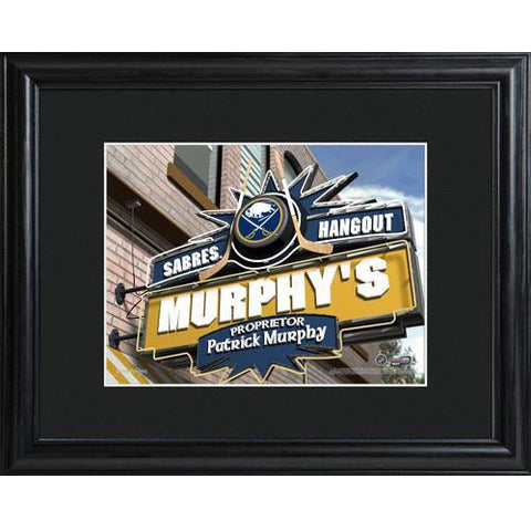 Personalized NHL Pub Sign w/Matted Frame - Sabres -  - Professional Sports Gifts - AGiftPersonalized