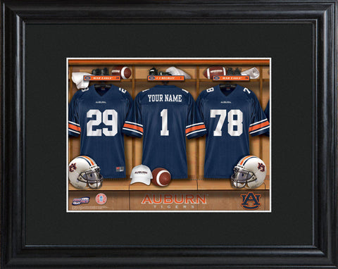 Personalized College Locker Room Sign w/Matted Frame - Auburn