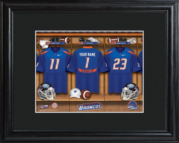 Personalized College Locker Room Sign w/Matted Frame - BoiseState - JDS