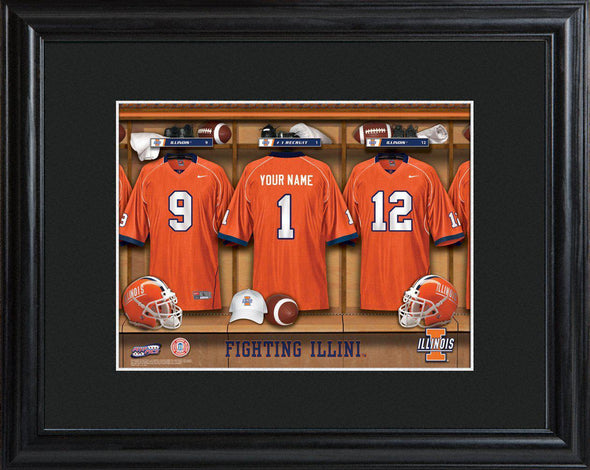 Personalized College Locker Room Sign w/Matted Frame - Illinois - JDS