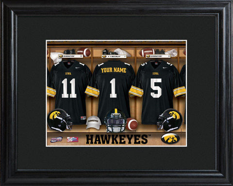 Personalized College Locker Room Sign w/Matted Frame - Iowa