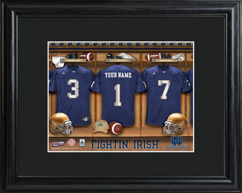 Personalized College Locker Room Sign w/Matted Frame - NotreDame