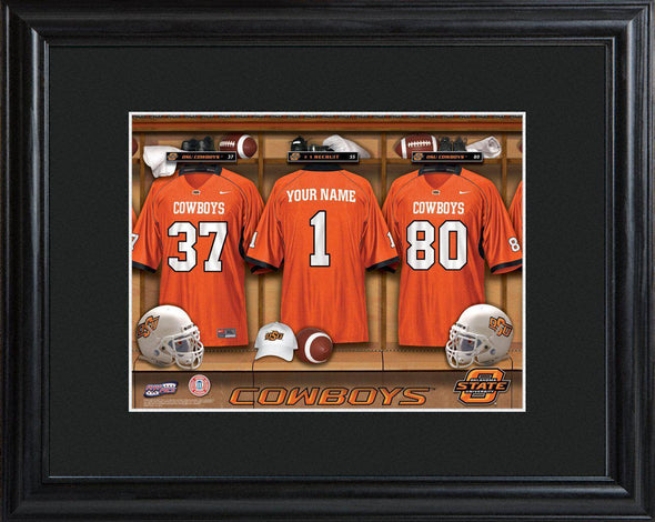 Personalized College Locker Room Sign w/Matted Frame - OklahomaST - JDS