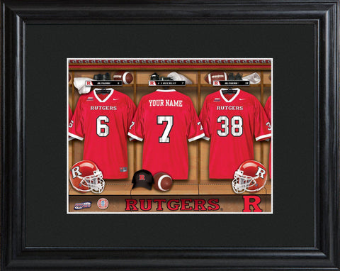 Personalized College Locker Room Sign w/Matted Frame - Rutgers