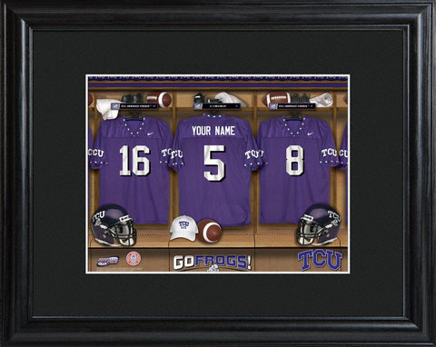 Personalized College Locker Room Sign w/Matted Frame - TCU