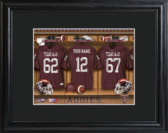 Personalized College Locker Room Sign w/Matted Frame - TexasA&M