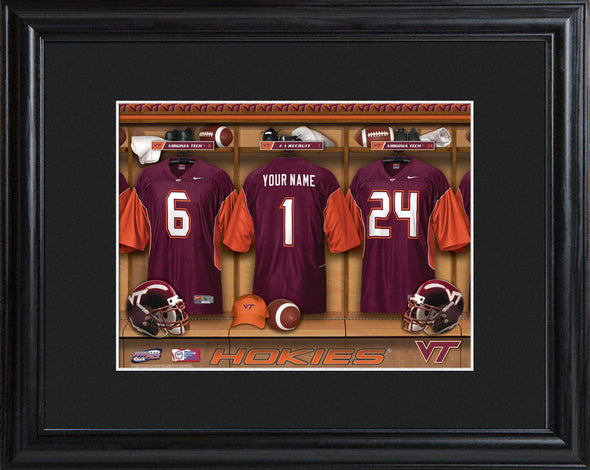 Personalized College Locker Room Sign w/Matted Frame - VirginiaTech - JDS