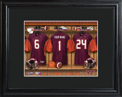 Personalized College Locker Room Sign w/Matted Frame - VirginiaTech