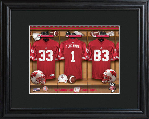 Personalized College Locker Room Sign w/Matted Frame - Wisconsin