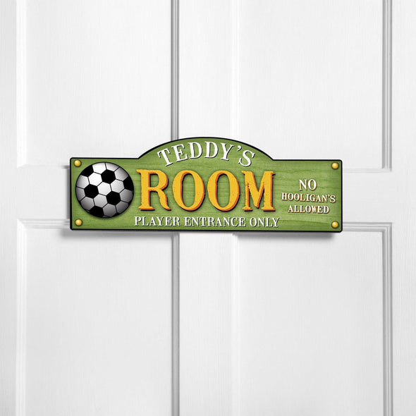 Personalized Kid's Door Signs - Room Sign - Sports Themed Signs - KickItUp - JDS